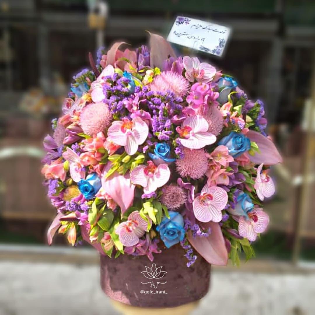 خرید و قیمت باکس گل خلوتگه راز سفارش آنلاین باکس گل گل ایرانی باکس گل بنفش خرید اینترنتی باکس گل