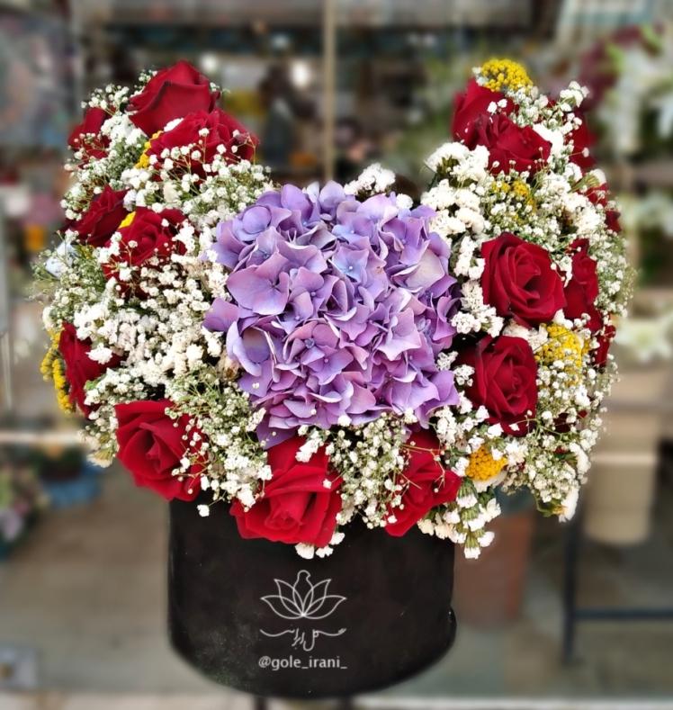خرید و قیمت باکس گل یادگار سفارش باکس گل بنفش ارسال رایگان گل تولد لاکچری سالگرد ازدواجمون مبارک خرید باکس گل
