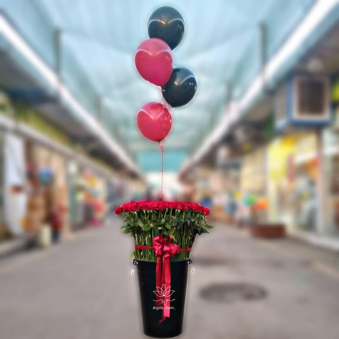 خرید و قیمت باکس گل هواخواه سطل گل رز باکس گل و بادکنک تولد باکس گل رز صد شاخه گل ایرانی باکس گل قرمز مشکی